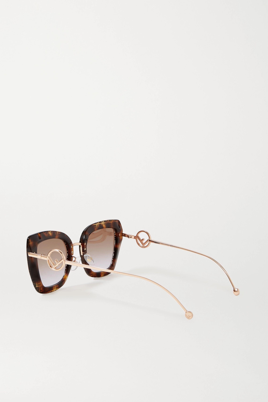 Fendi Cat-Eye-Sonnenbrille aus Azetat in Hornoptik mit goldfarbenen Details