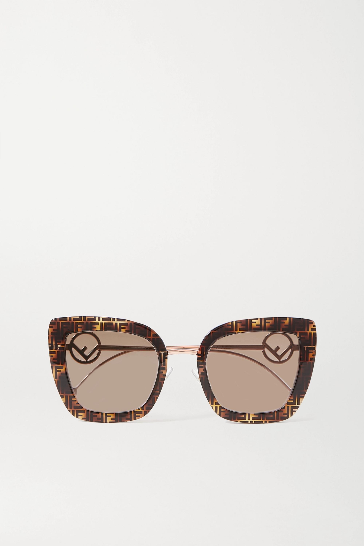 Fendi Cat-eye tortoiseshell acetate and gold-tone sunglasses
