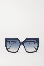 Fendi Oversized square-frame acetate and gold-tone sunglasses