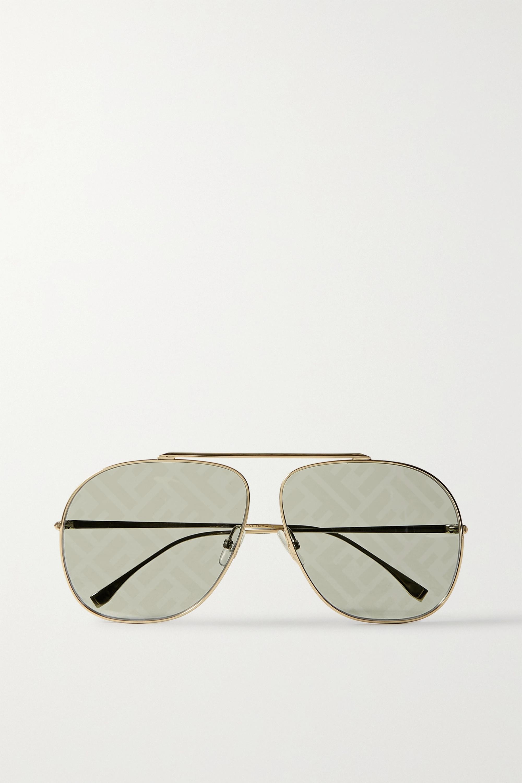 Fendi Goldfarbene Pilotensonnenbrille