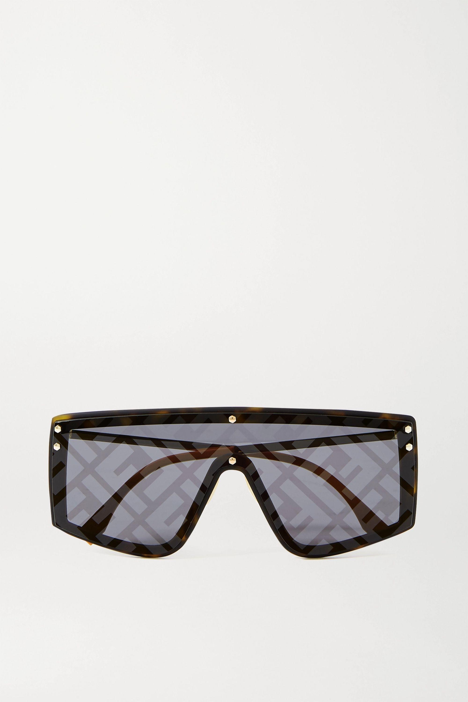 Fendi Verspiegelte Sonnenbrille mit D-Rahmen aus Azetat mit goldfarbenen Details