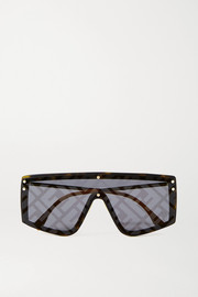 Fendi D-frame gold-tone and acetate mirrored sunglasses