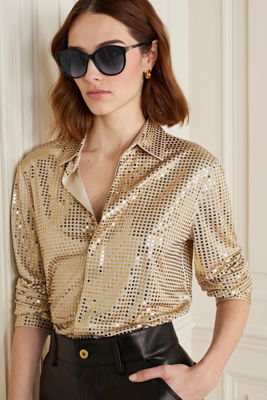 Fendi Round-frame acetate and gold-tone sunglasses