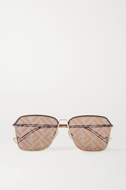 Fendi Square-frame gold-tone and acetate mirrored sunglasses
