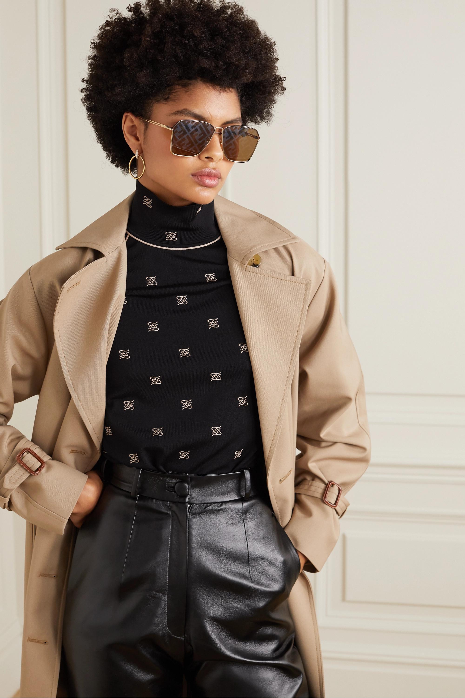 Fendi Square-frame gold-tone and acetate mirrored sunglasses