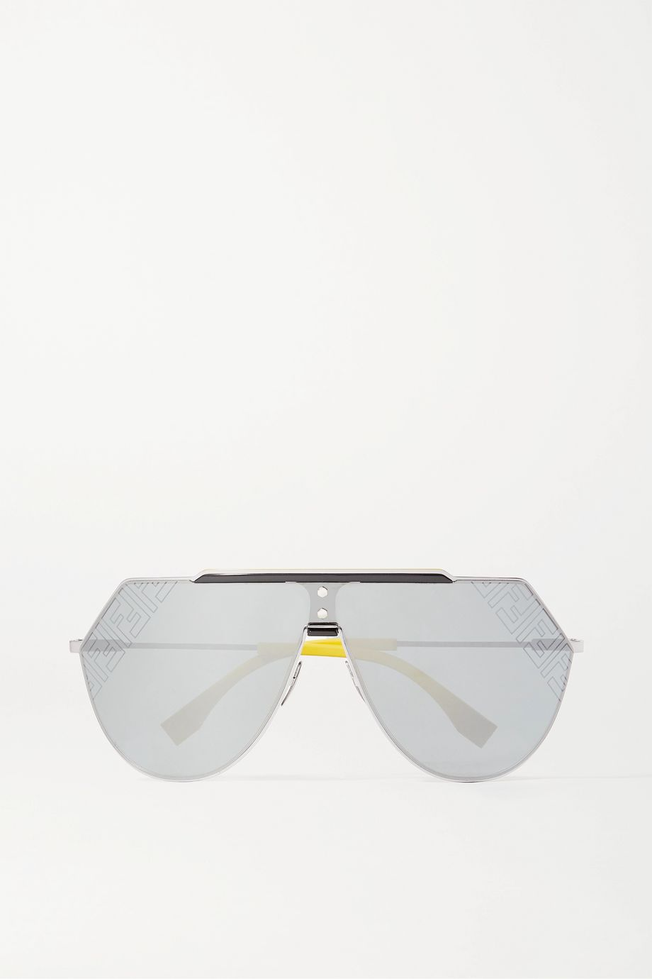 Fendi Aviator-style silver-tone and acetate mirrored sunglasses