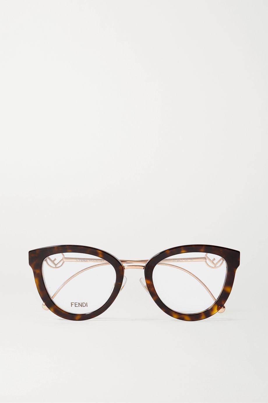 Fendi Square-frame tortoiseshell acetate and gold-tone optical glasses
