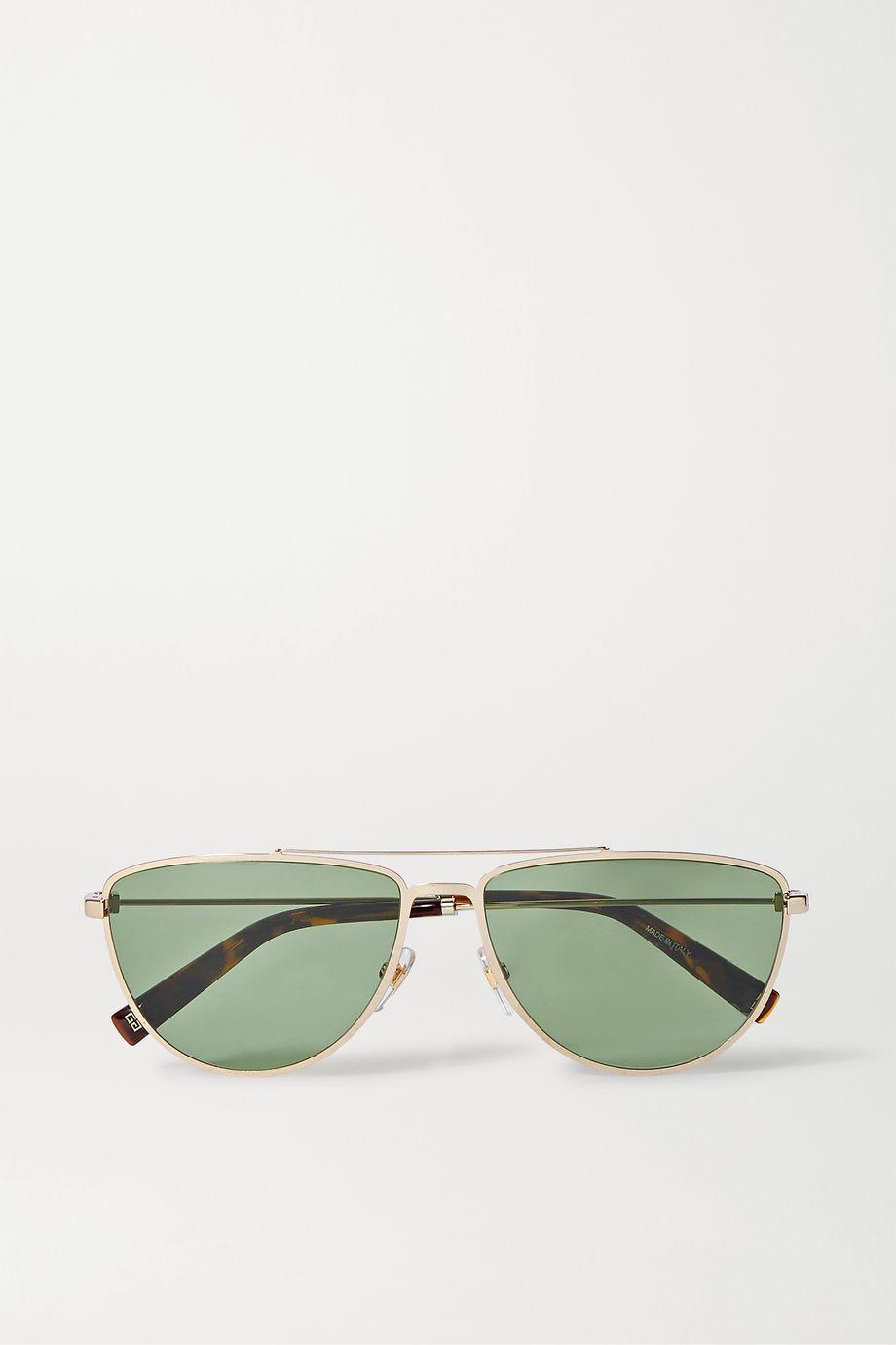 Givenchy Goldfarbene Pilotensonnenbrille aus Azetat in Hornoptik