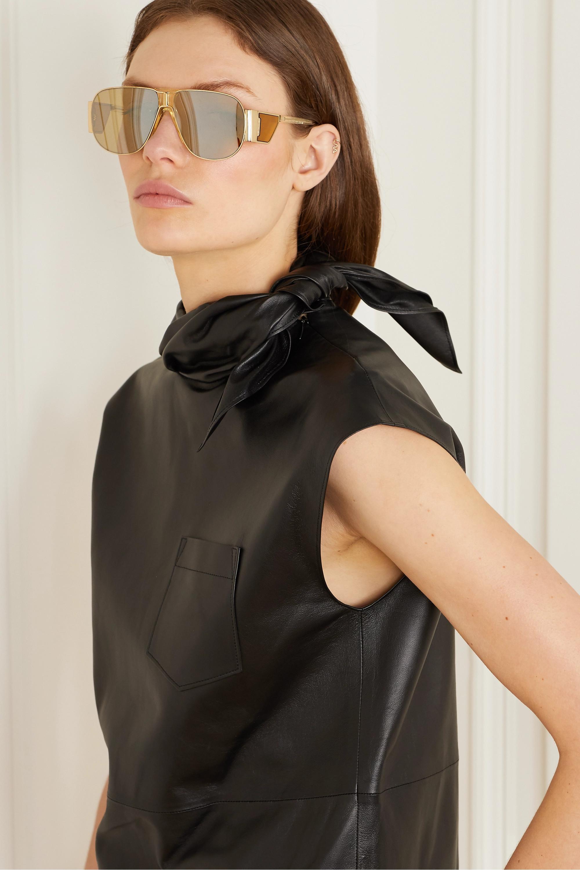 Givenchy Lunettes de soleil aviateur oversize en métal doré