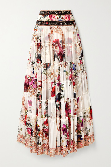 Camilla TIERED CRYSTAL-EMBELLISHED FLORAL-PRINT SILK-CREPON MAXI SKIRT
