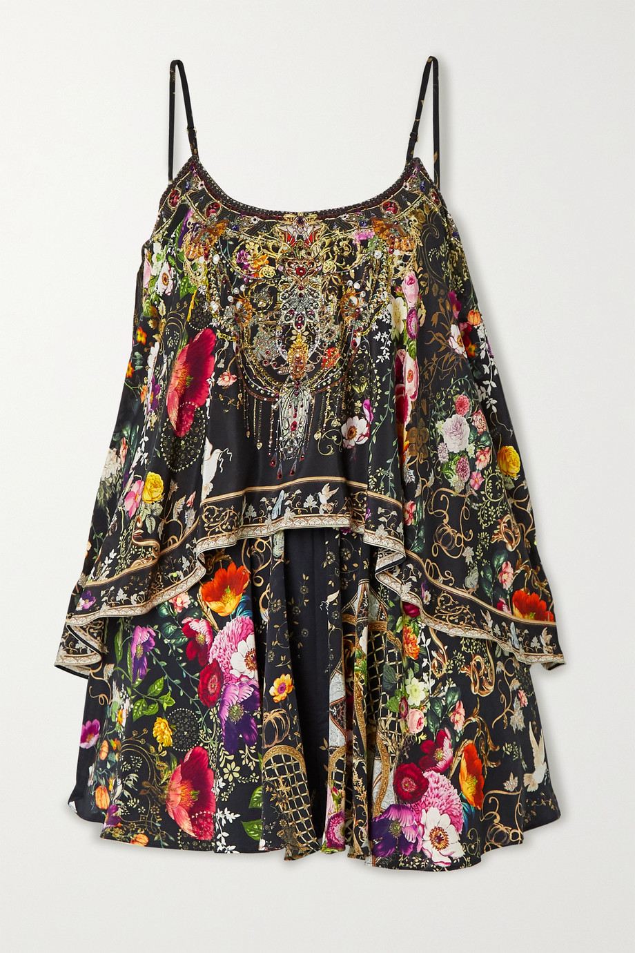 Camilla Layered crystal-embellished printed silk crepe de chine playsuit