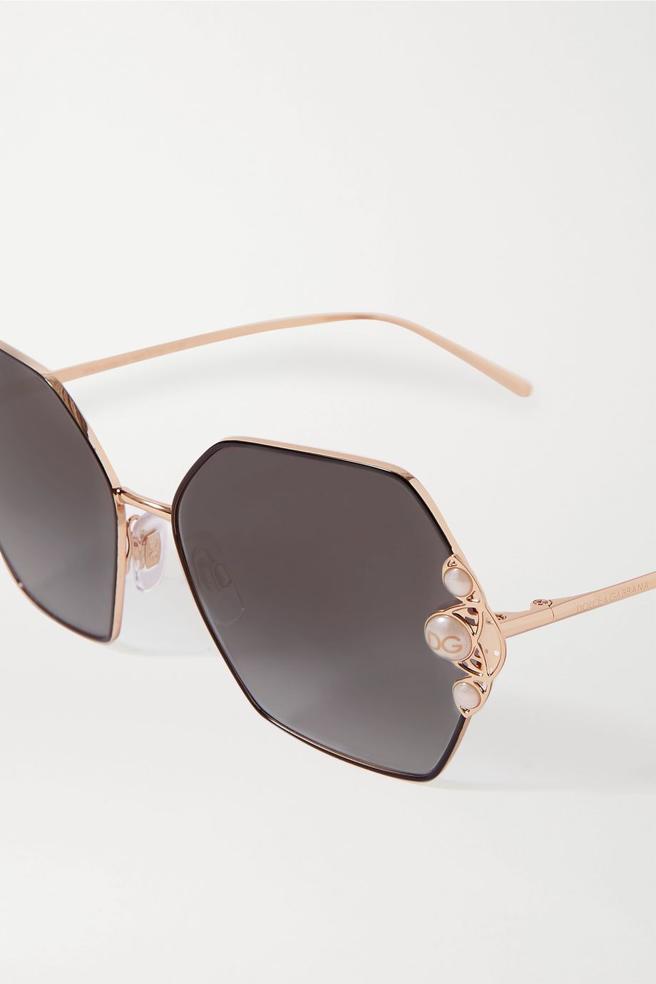 Dolce & Gabbana Faux pearl-embellished hexagon-frame gold-tone sunglasses