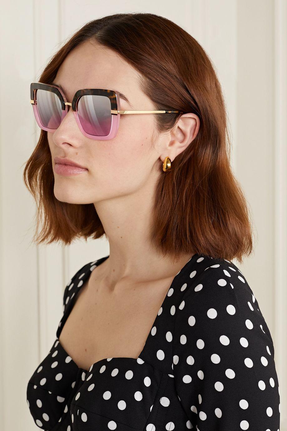 Dolce & Gabbana Square-frame acetate and gold-tone sunglasses