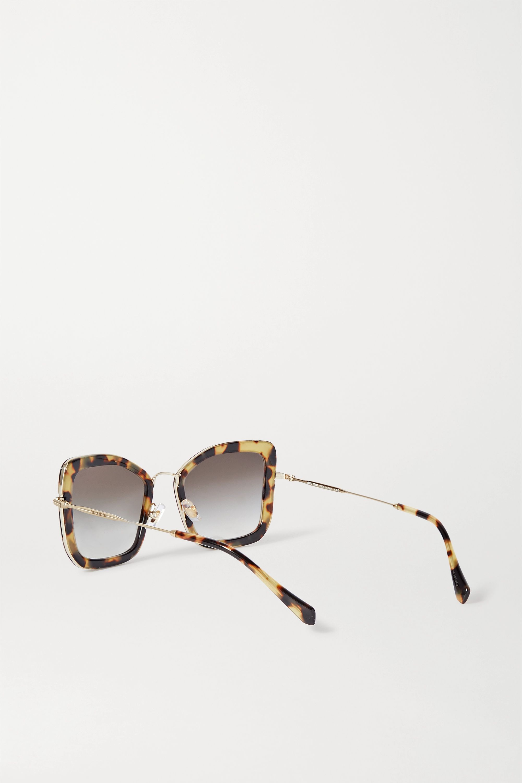 Miu Miu Eyewear Oversized-Sonnenbrille mit Cat-Eye-Rahmen aus Azetat in Hornoptik mit goldfarbenen Details
