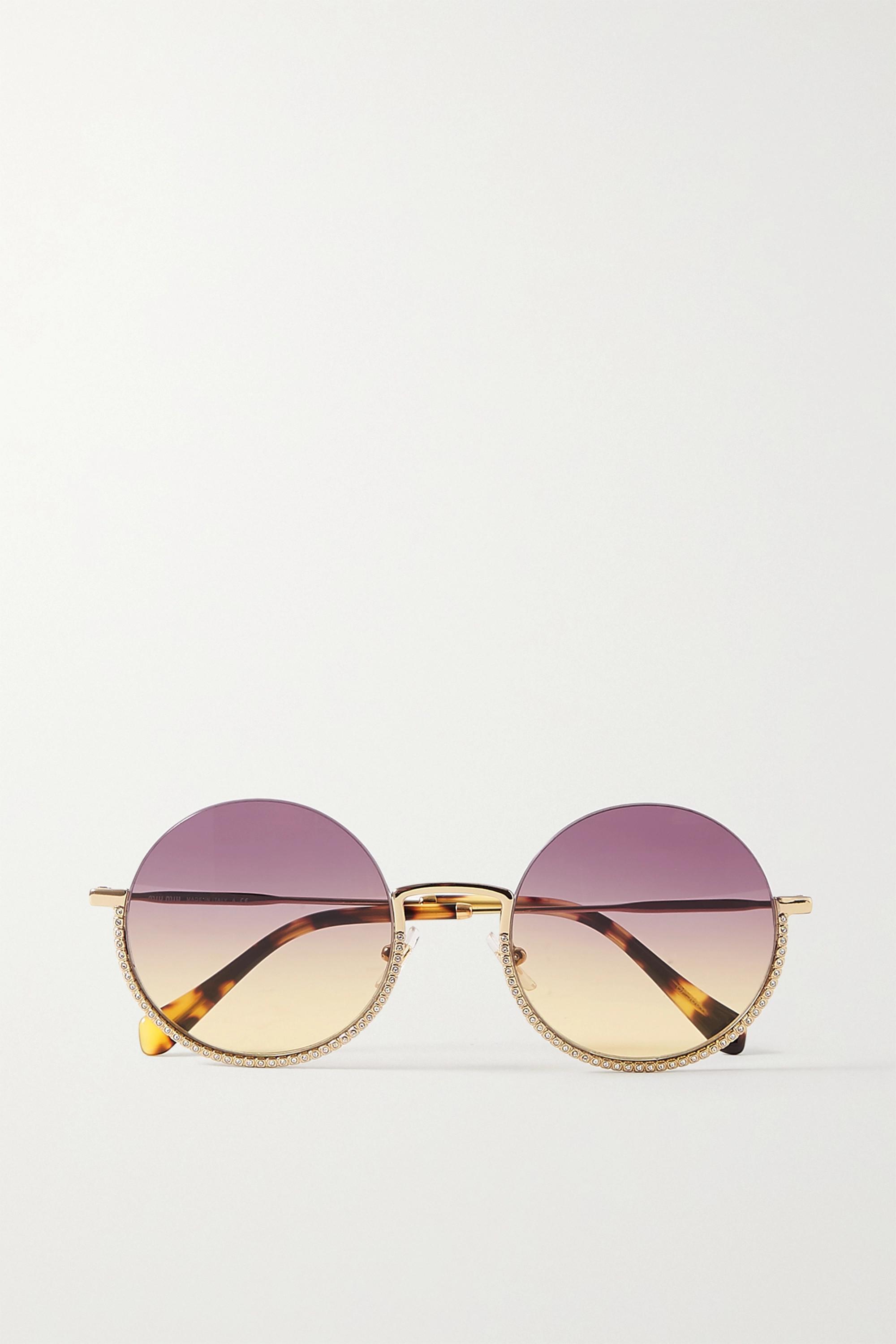 Miu Miu Eyewear Round-frame crystal-embellished gold-tone and tortoiseshell acetate sunglasses