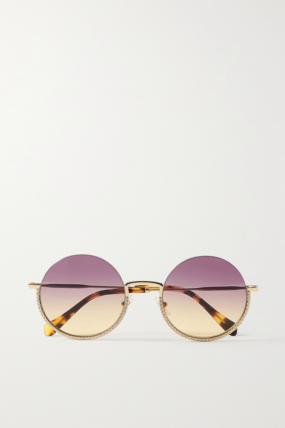 Miu Miu Eyewear Round-frame crystal-embellished gold-tone and tortoiseshell acetate sunglasses