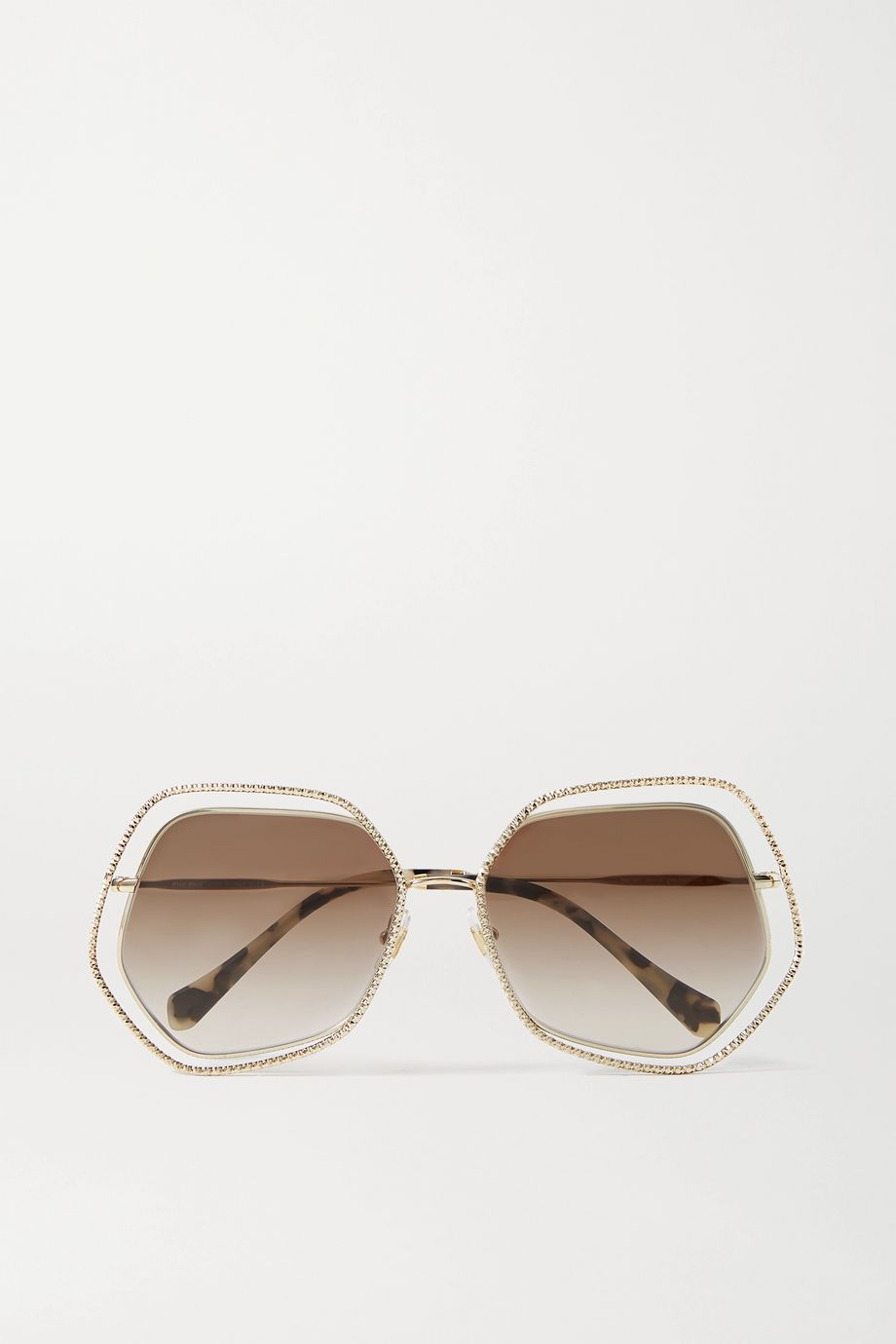 Miu Miu Eyewear Oversized hexagon-frame gold-tone sunglasses