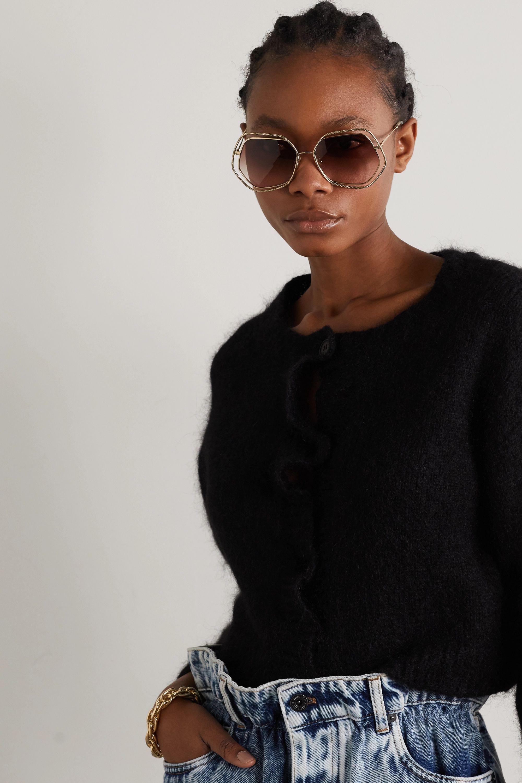 Miu Miu Eyewear Oversized hexagon-frame gold-tone sunglasses
