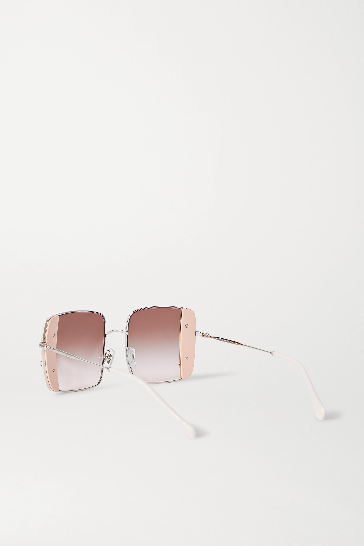 Miu Miu Oversized crystal-embellished square-frame acetate and silver-tone sunglasses