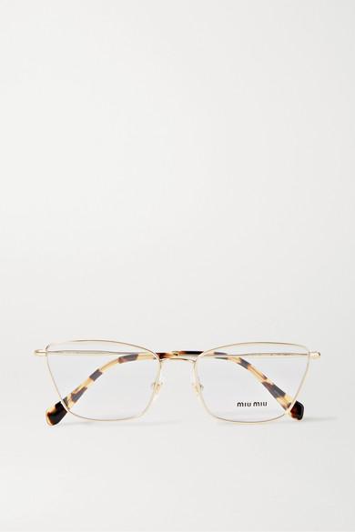 Miu Miu Eyewear - Cat-eye Gold-tone And Tortoiseshell Acetate Optical Glasses - one size