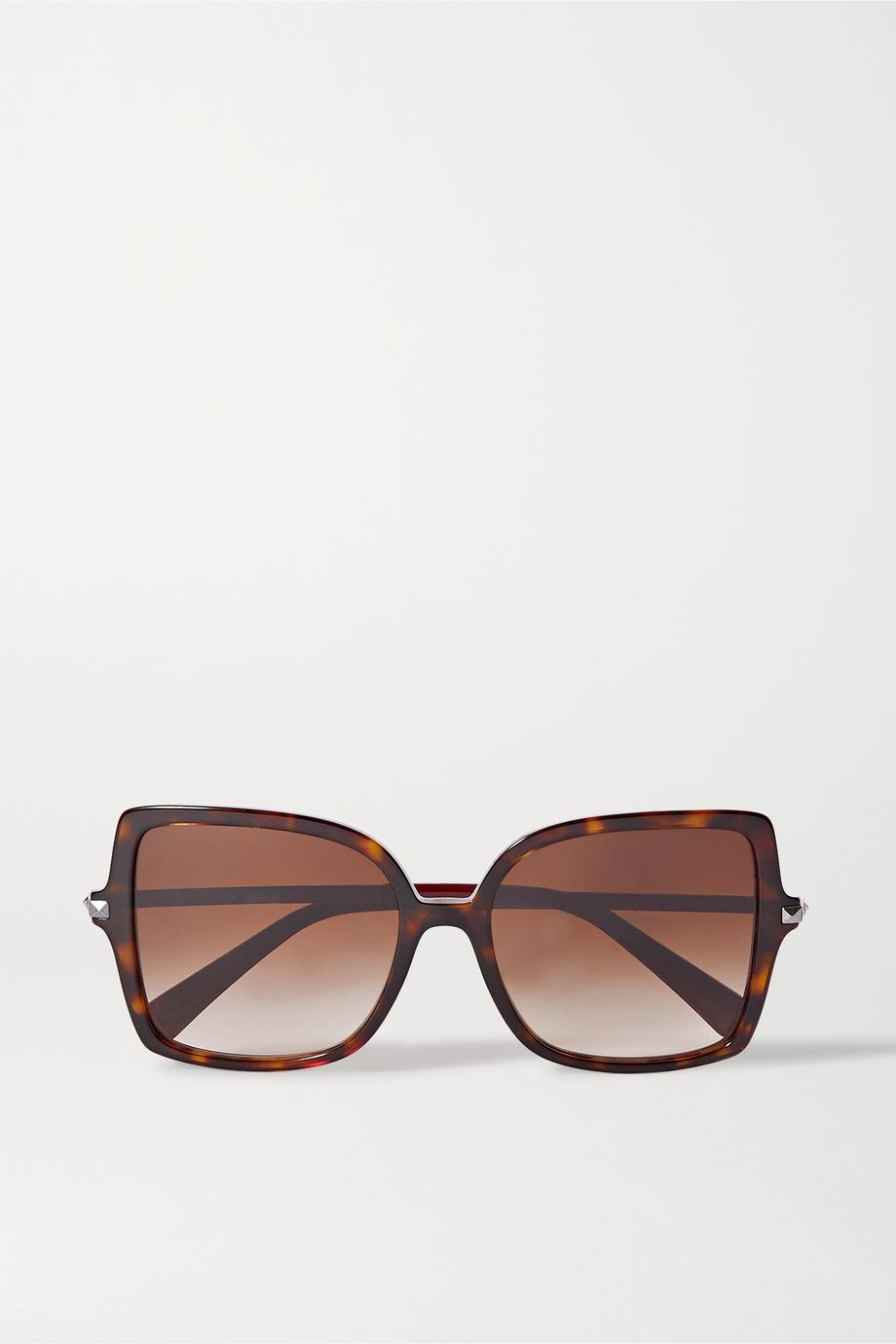 Valentino Valentino Garavani Rockstud oversized square-frame tortoiseshell acetate sunglasses