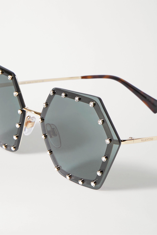 Valentino Valentino Garavani hexagon-frame crystal-embellished gold-tone sunglasses
