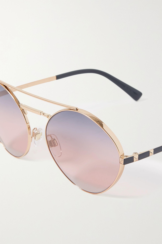 Valentino Valentino Garavani Rockstud aviator-style gold-tone and acetate sunglasses