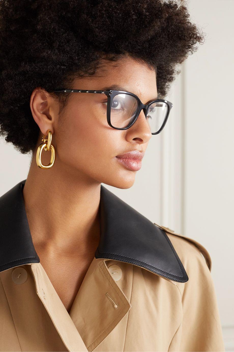 Valentino Valentino Garavani square-frame studded acetate optical glasses