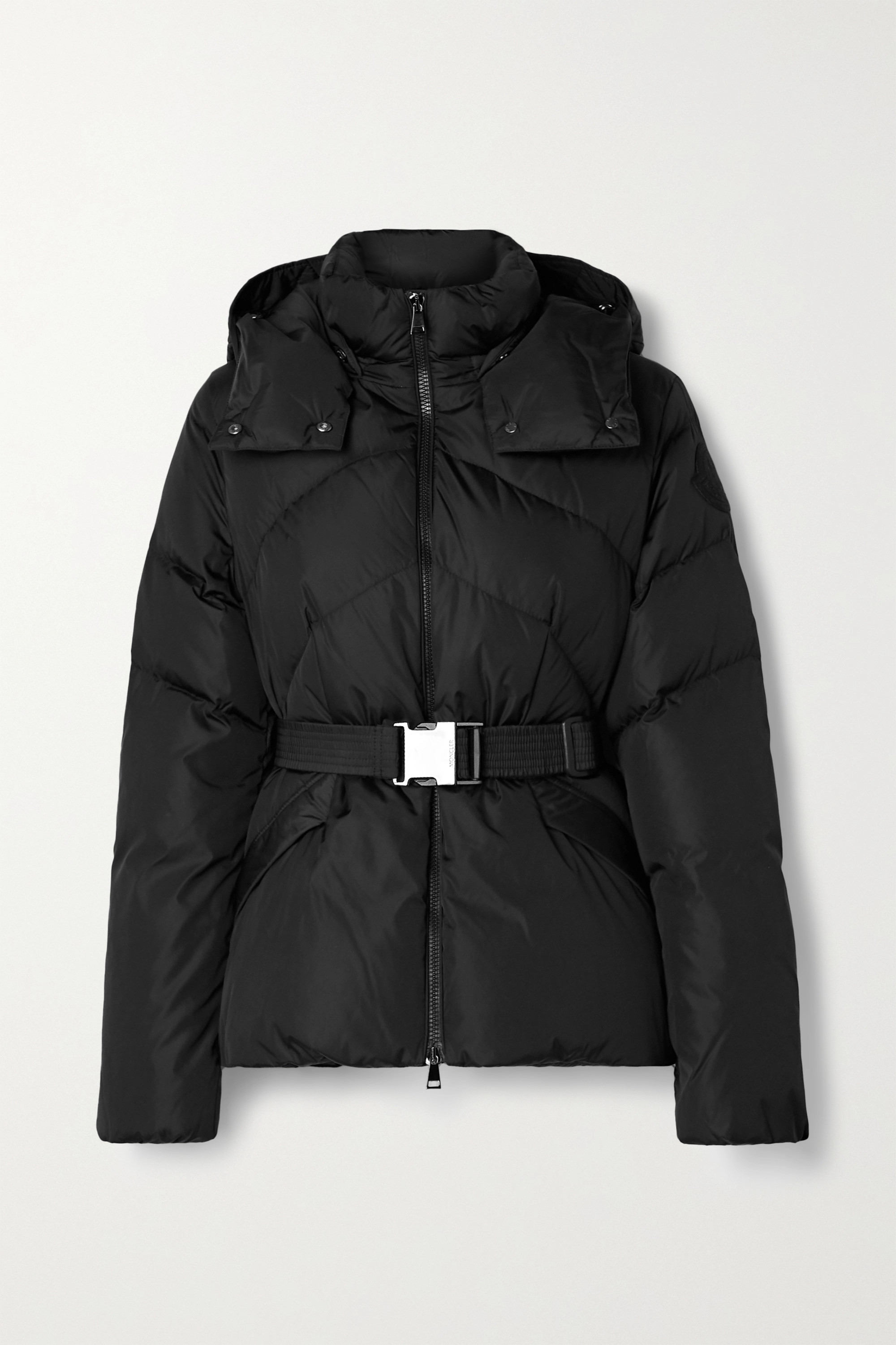 Moncler Aloes hooded belted quilted shell down jacket