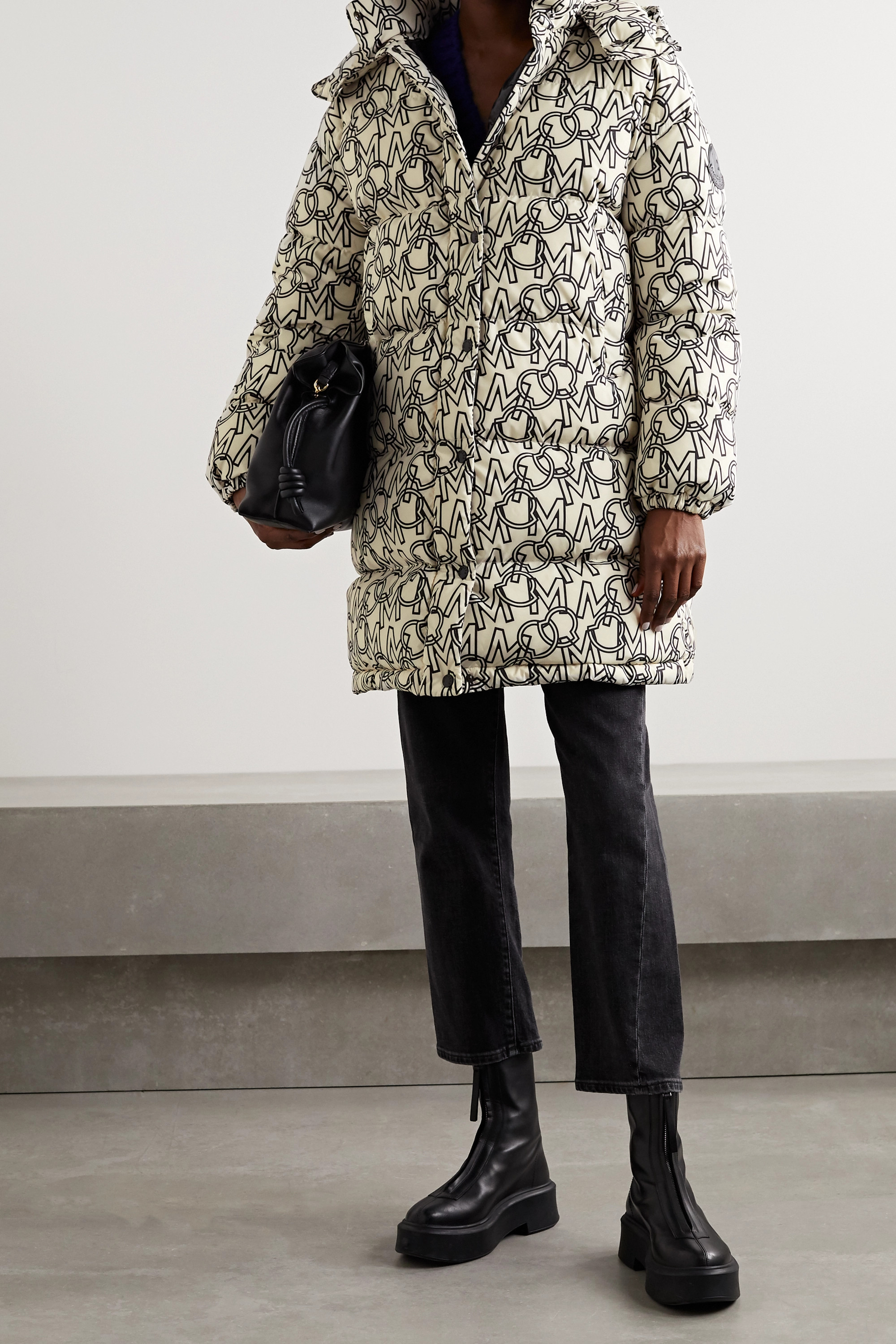 Moncler Gaou hooded printed quilted shell down coat