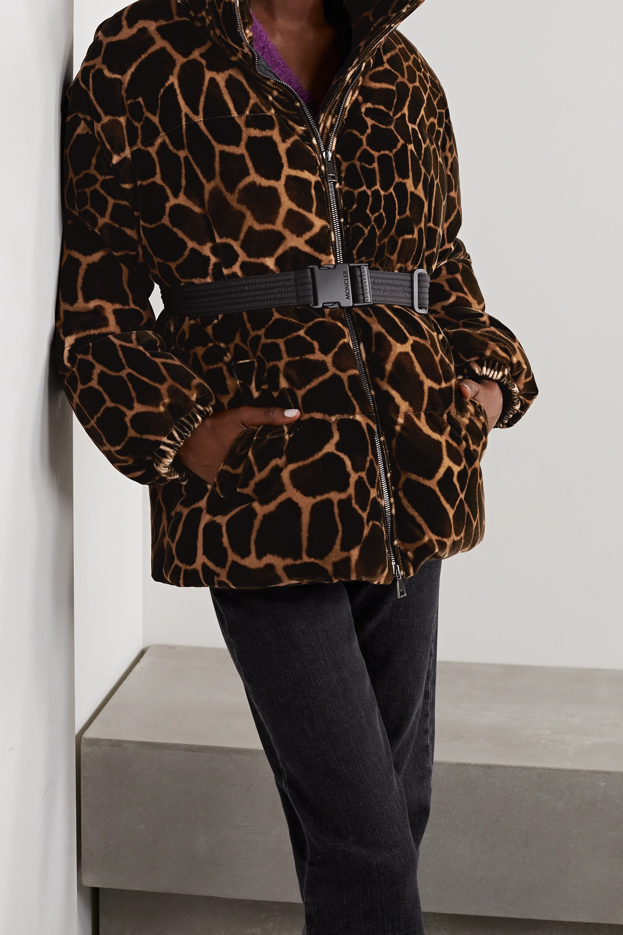 Moncler Kundogi animal-print quilted cotton-velvet down jacket