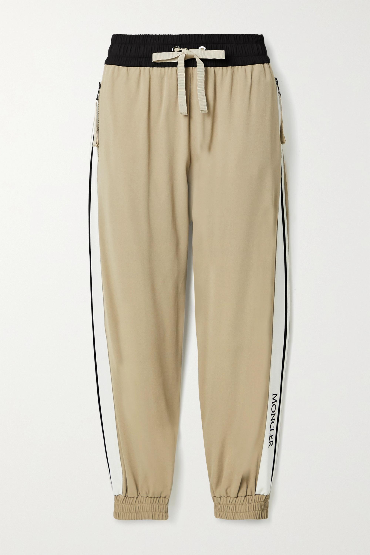 Moncler Grosgrain-trimmed crepe track pants
