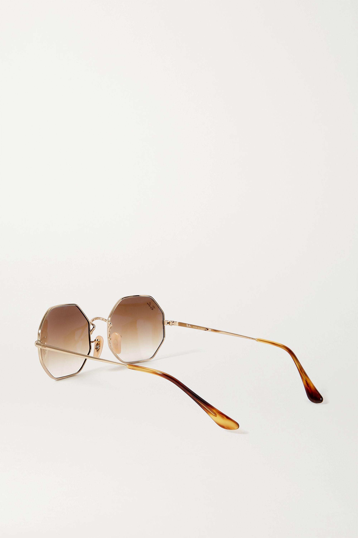 Ray-Ban Hexagon-frame gold-tone and tortoiseshell acetate sunglasses
