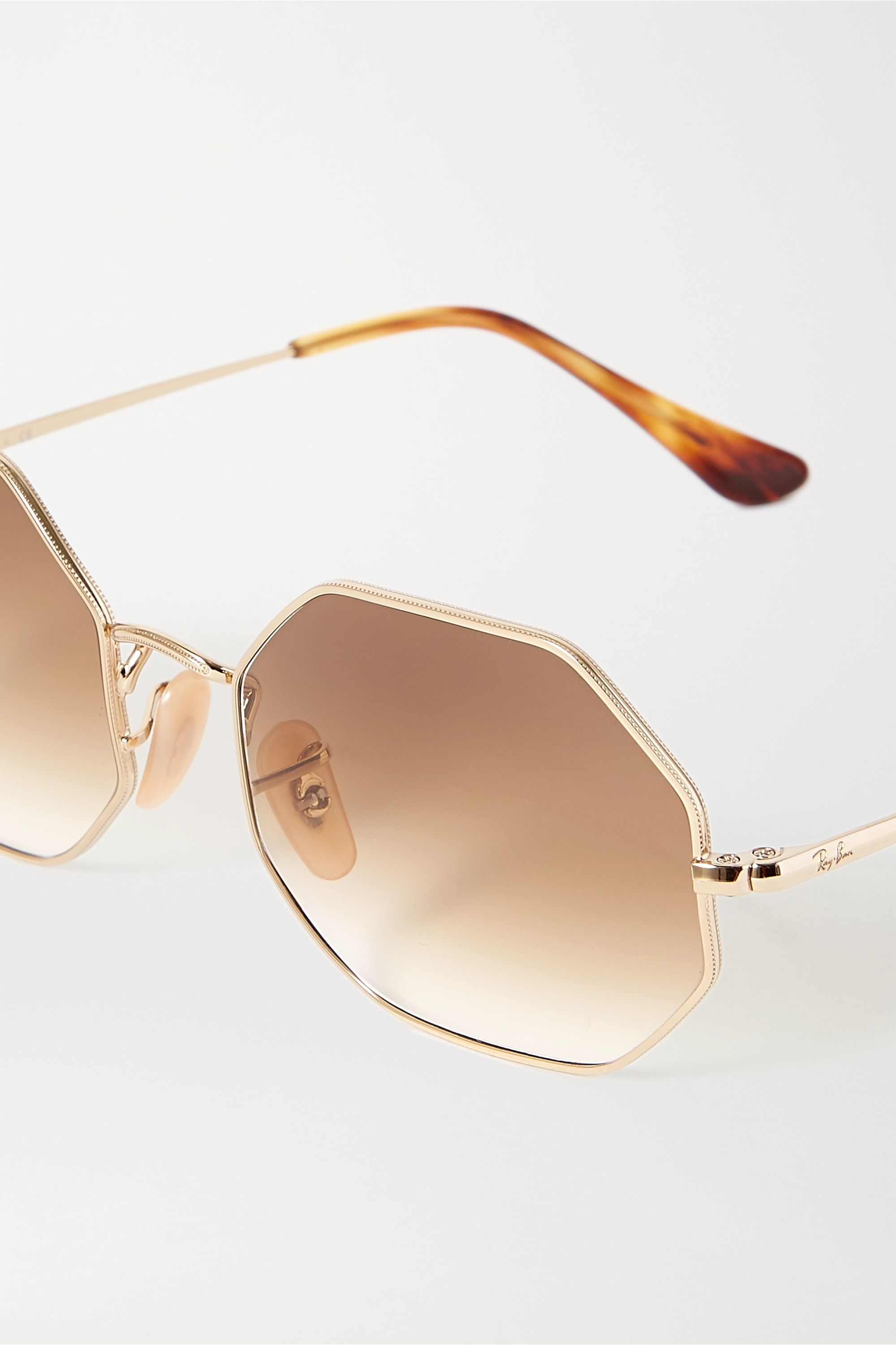 Gold Hexagon-frame Gold-tone And Tortoiseshell Acetate Sunglasses | Ray-ban
