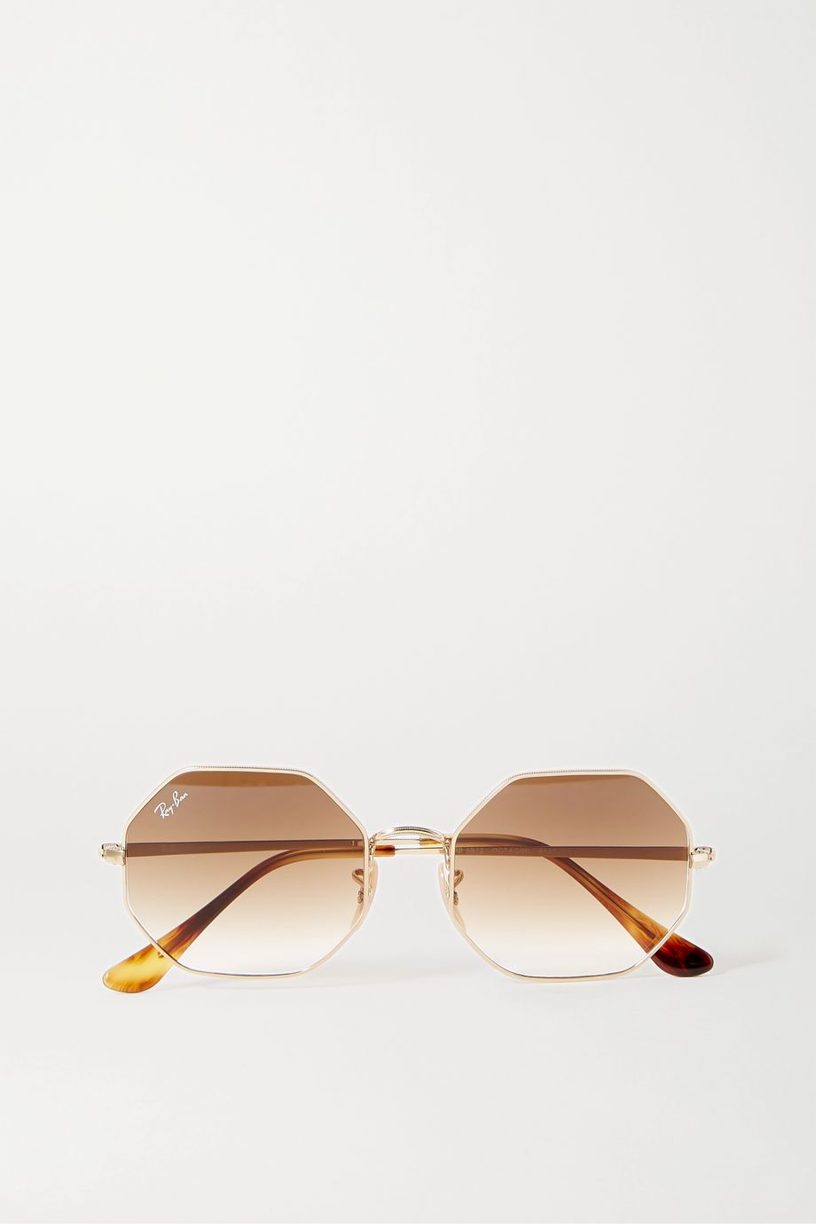 Ray-Ban Hexagon-frame gold-tone and tortoiseshell acetate sunglasses