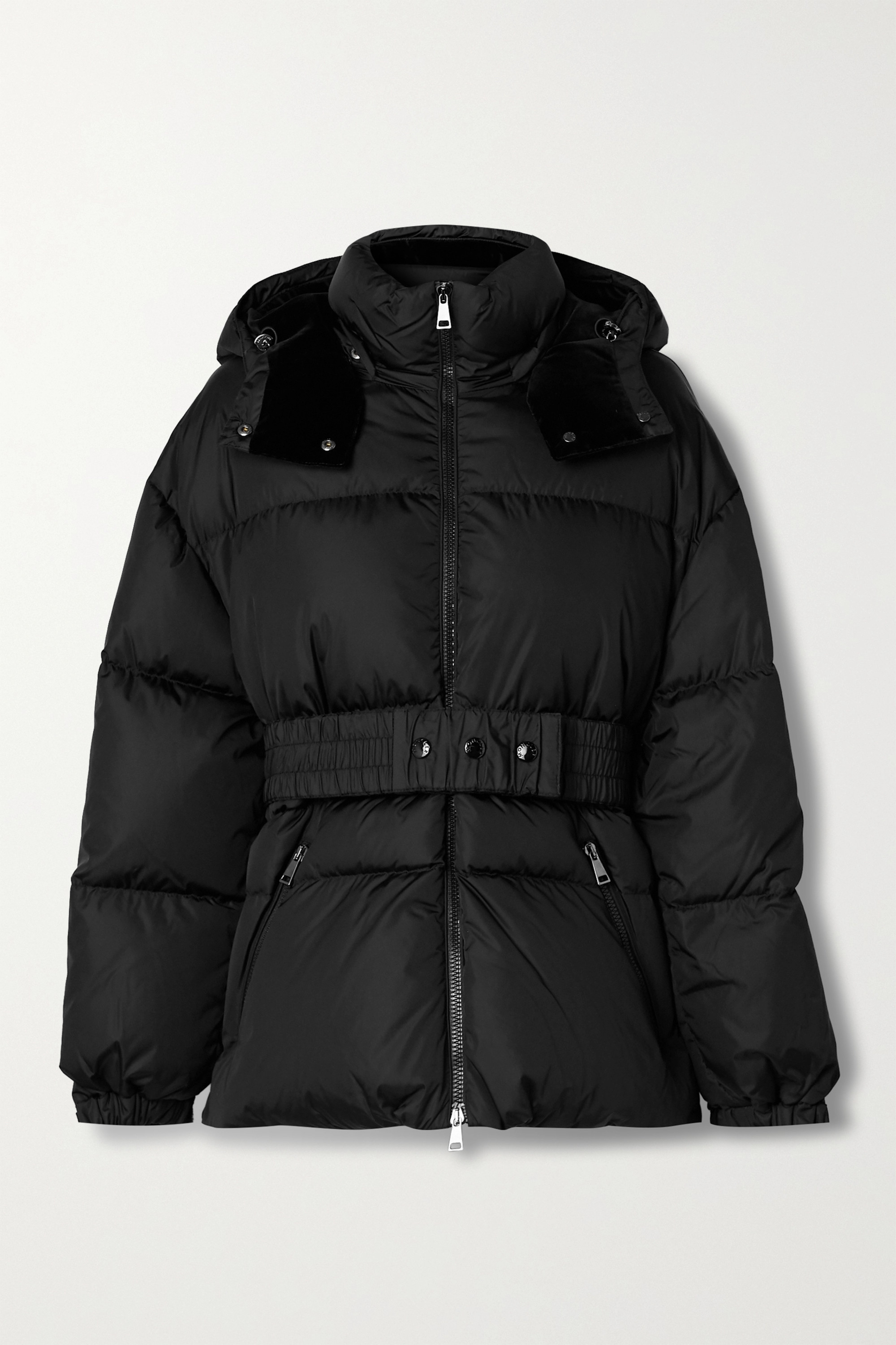Moncler Tiac belted velvet-trimmed quilted shell down jacket