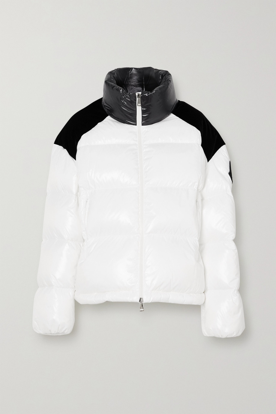 Moncler Chouelle velvet-trimmed printed quilted glossed-shell down jacket