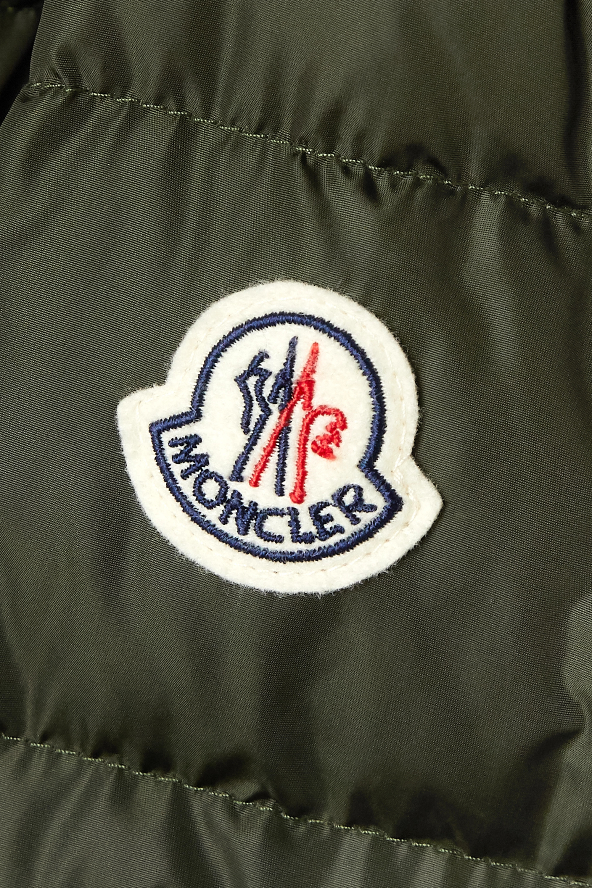 Moncler Talev hooded faux leather-trimmed quilted shell down jacket