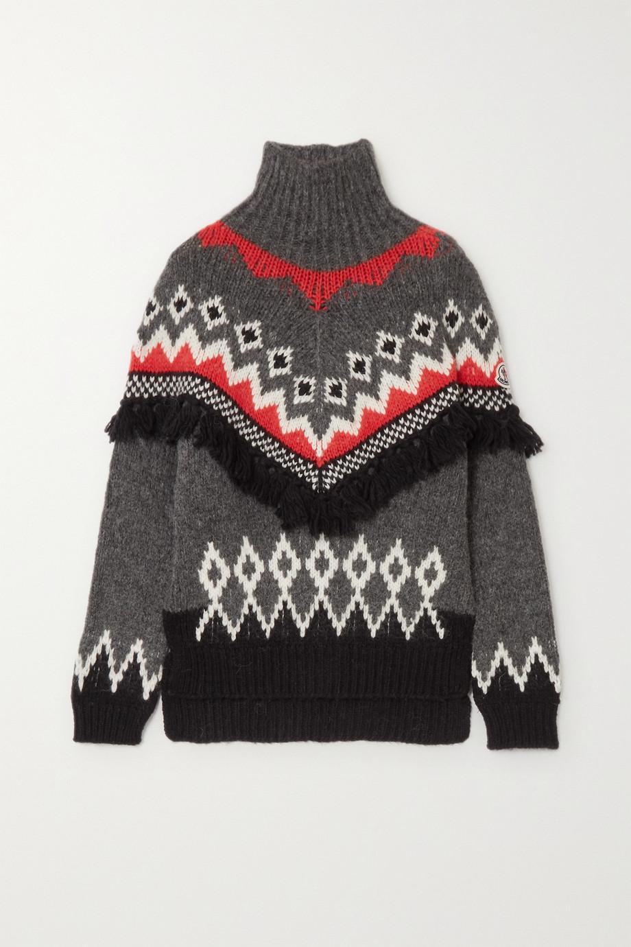 Moncler 穗饰提花针织高领毛衣