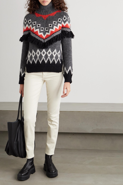 Moncler Tasseled jacquard-knit turtleneck sweater