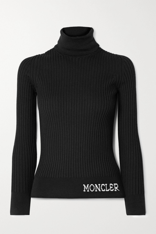 Moncler Intarsia ribbed wool turtleneck sweater