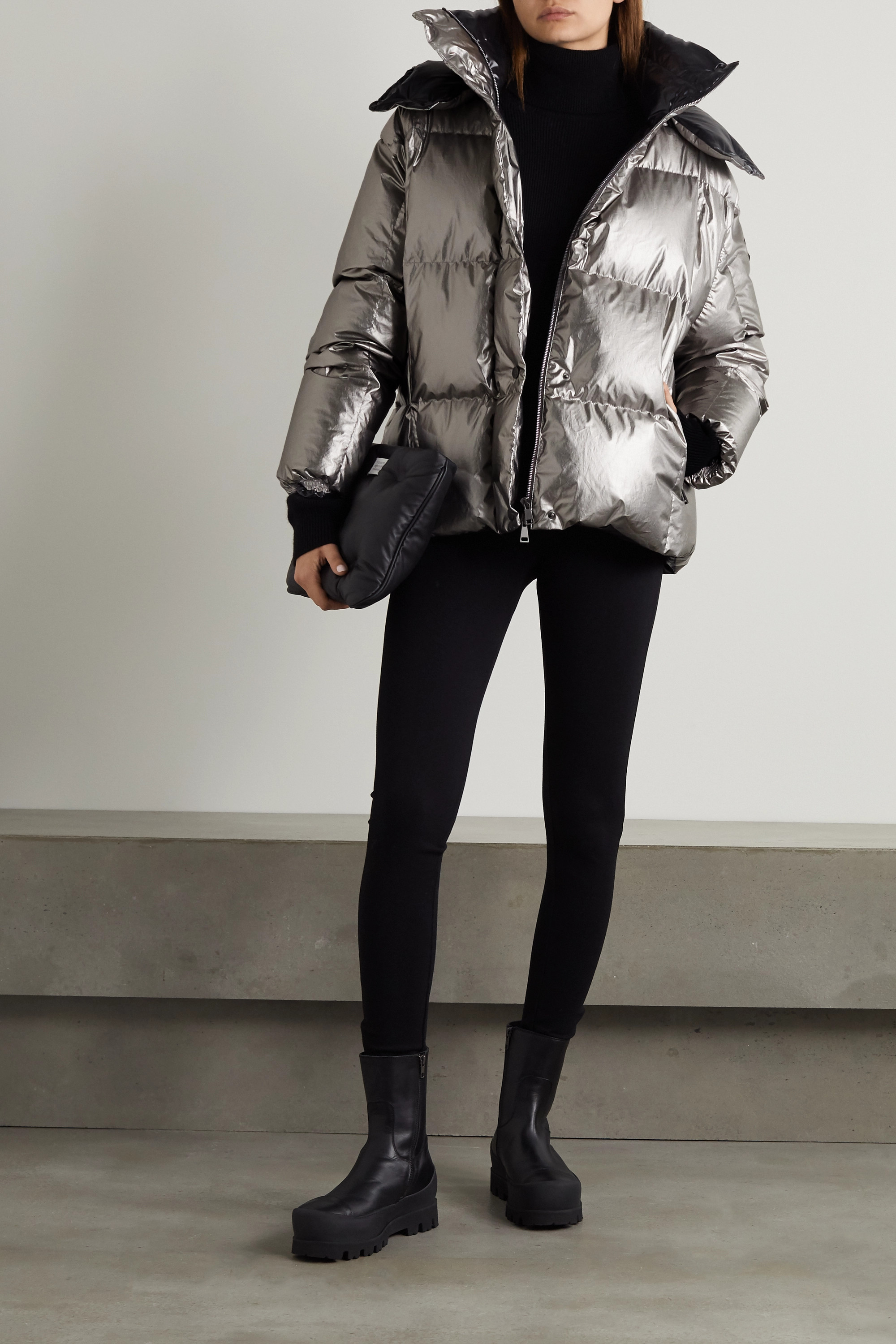 Moncler Parana hooded quilted metallic cotton-shell down jacket