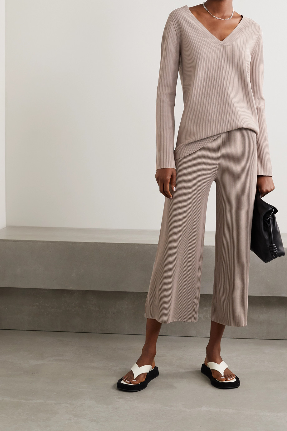 Theory Henriet cropped ribbed-knit wide-leg pants