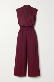Theory Cropped wrap-effect silk crepe de chine jumpsuit