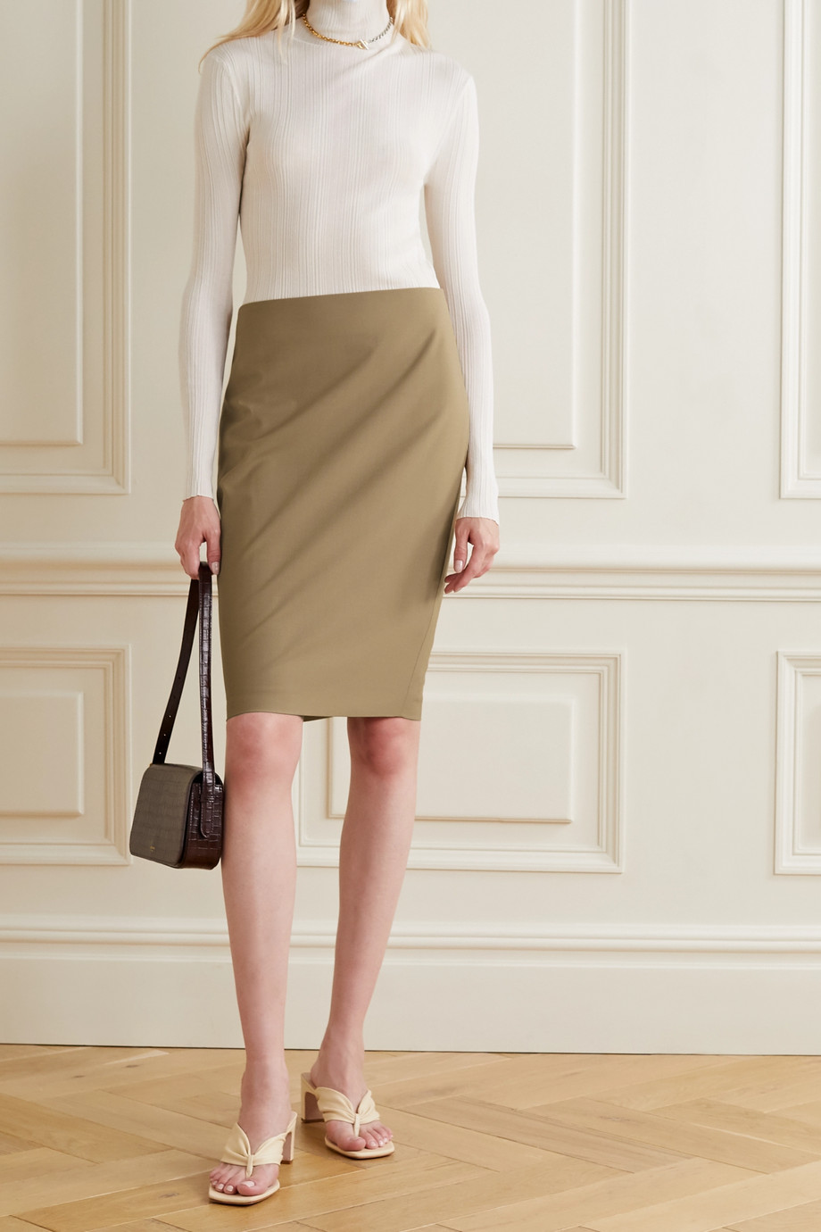 Theory Stretch-wool skirt