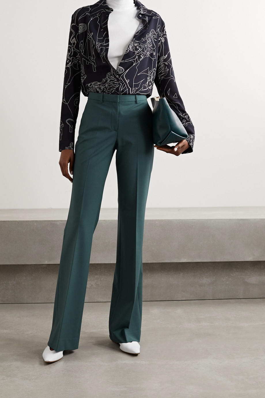Theory Demitria 4 wool-blend flared pants