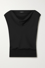 Theory Draped silk crepe de chine top