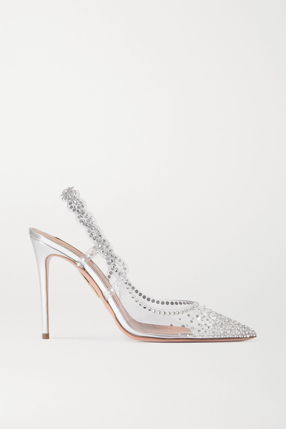 Aquazzura Heaven crystal-embellished PVC slingback pumps