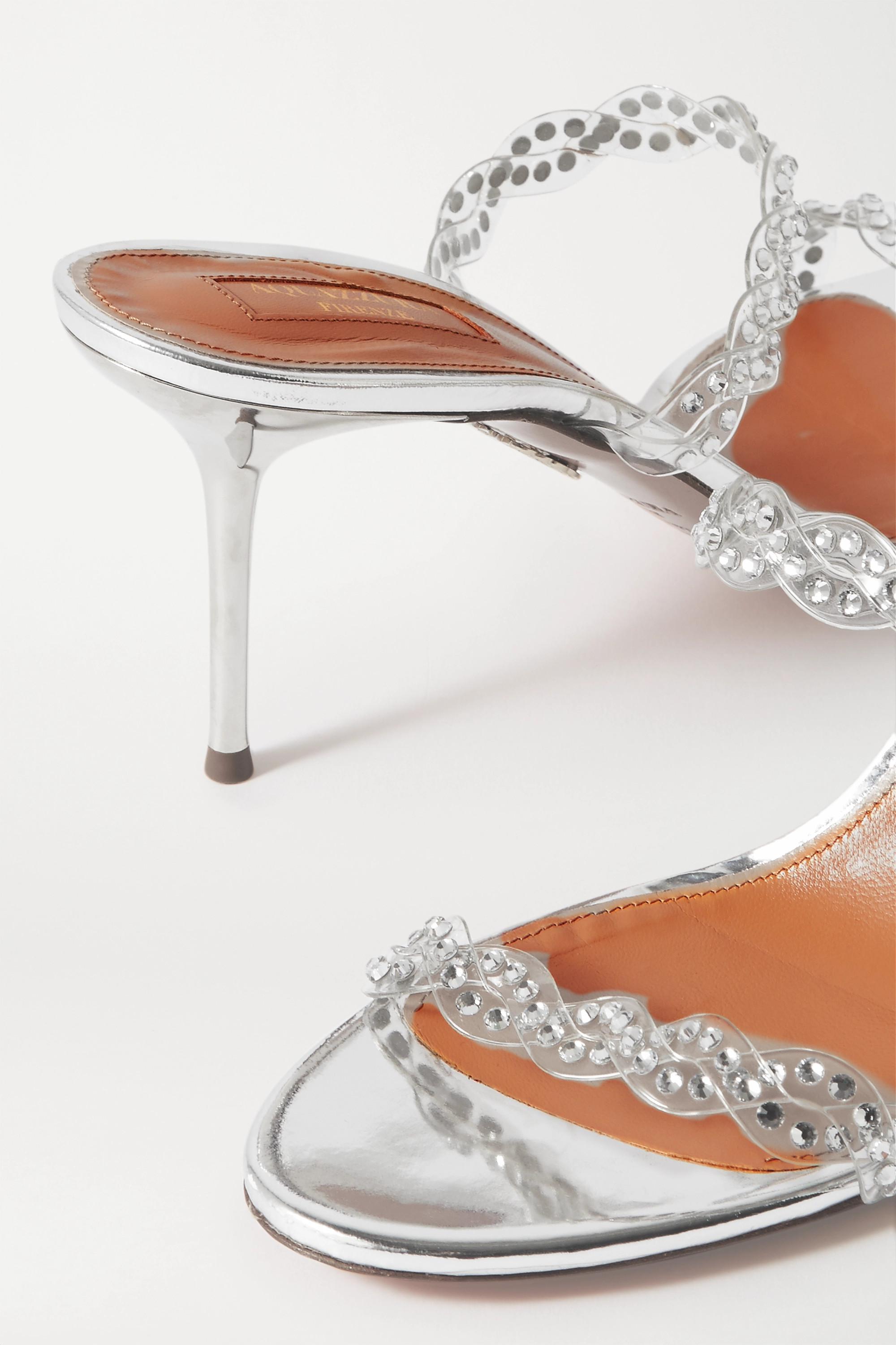 Aquazzura Heaven 75 Mules aus PVC und Metallic-Leder mit Kristallen