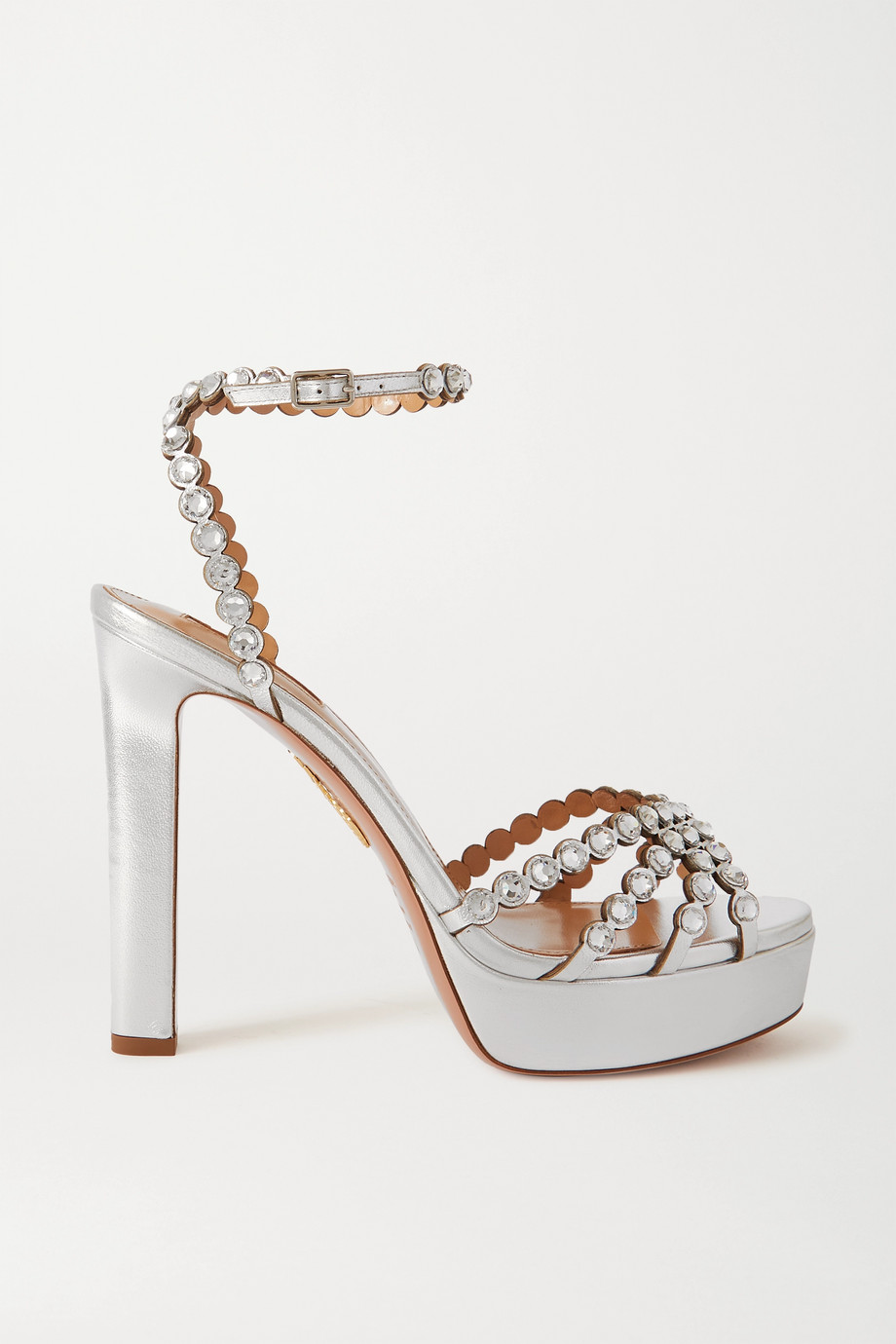 Aquazzura Tequila Plateau 120 crystal-embellished metallic leather platform sandals
